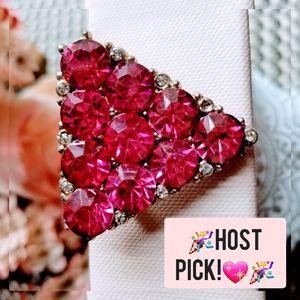 Vintage Broach pink stones faux diamonds